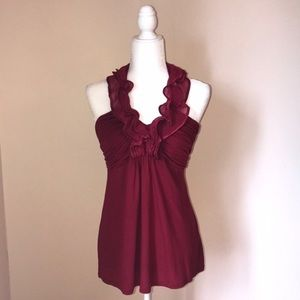 Express Ruffle Halter Top in Deep Red